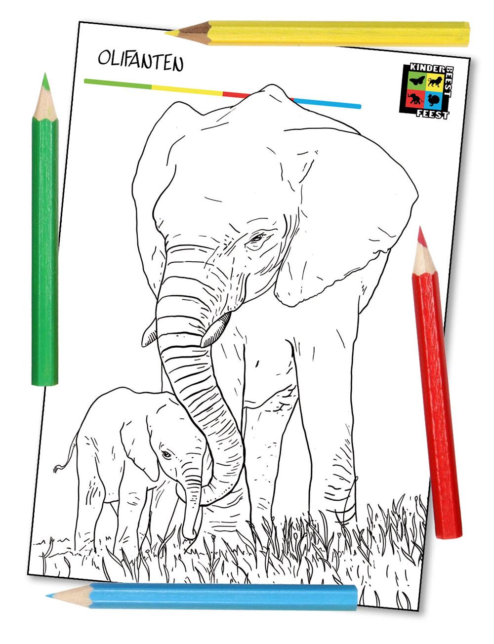 Kleurplaat Olifanten