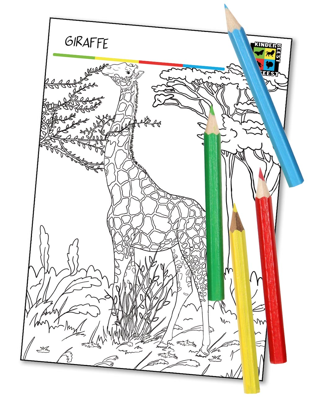 Kleurplaat Giraffe